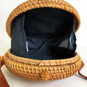Cross-Body 7-Inch Circle Rattan Bag with Shoulder Strap