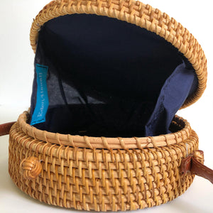 Round Horn 7-Inch Rattan Bag with Shoulder Strap