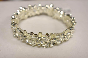 Elastic Silver Bracelet with Flowers