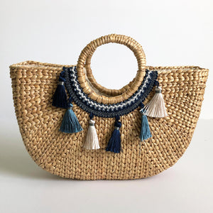 Accent Woven Water Hyacinth Handbag With Handles