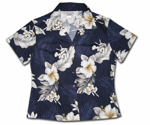 Floral Garden Night Fitted Women's Hawaiian Shirt