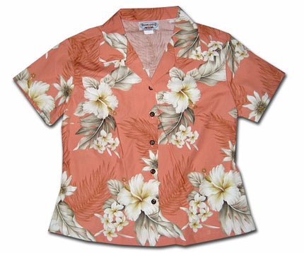 Floral Garden Peach Fitted Women's Hawaiian Shirt