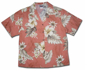 Floral Garden Peach Women's Hawaiian Shirt