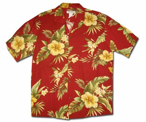 Hana Hibiscus Red Hawaiian Shirt