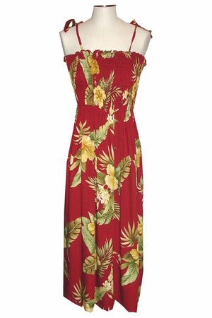 Hana Hibiscus Red Mid-Length Tube Dress