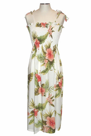 Hana Hibiscus White Mid-Length Tube Dress