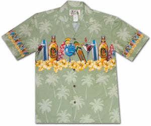 Happy Hour Green Hawaiian Shirt