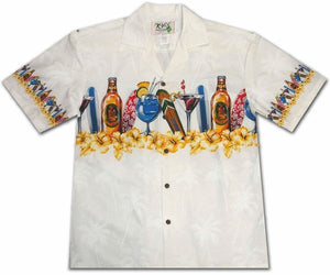 Happy Hour White Hawaiian Shirt
