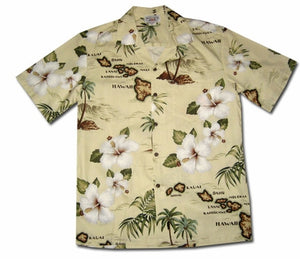 Hawaiian Islands Khaki Hawaiian Shirt