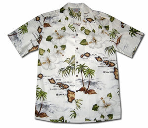 Hawaiian Islands White Hawaiian Shirt