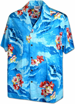 Hibiscus Seas Blue Hawaiian Shirt