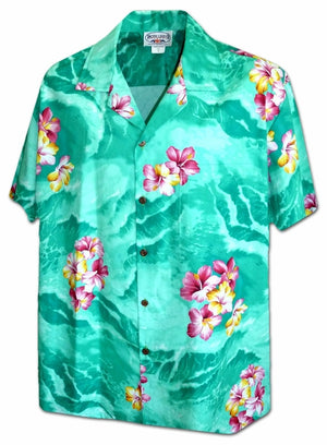 Hibiscus Seas Green Hawaiian Shirt