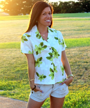 Island Pricess Green Fitted Women's Hawaiian Shirt