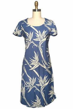 Kahala Paradise Blue A-Line Dress with Cap Sleeves