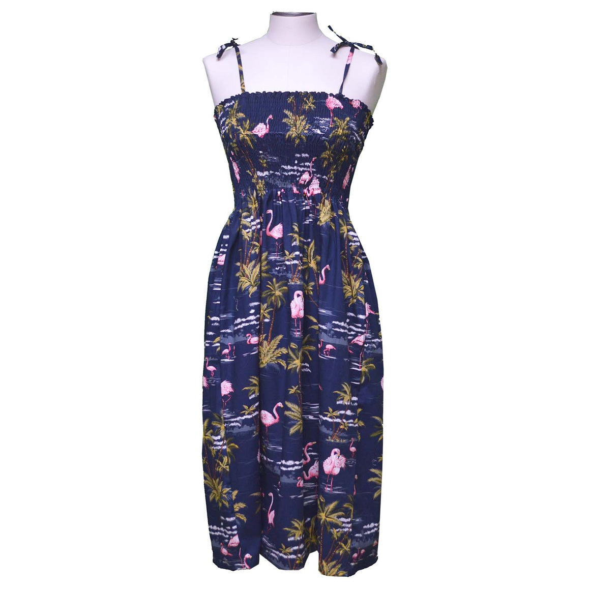 Flamingo Island Navy Mid-Length Tube Dress