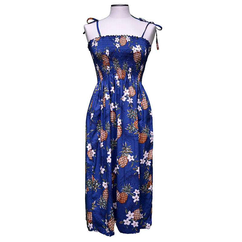 Pineapple Pack Navy Mid-Length Tube Dress