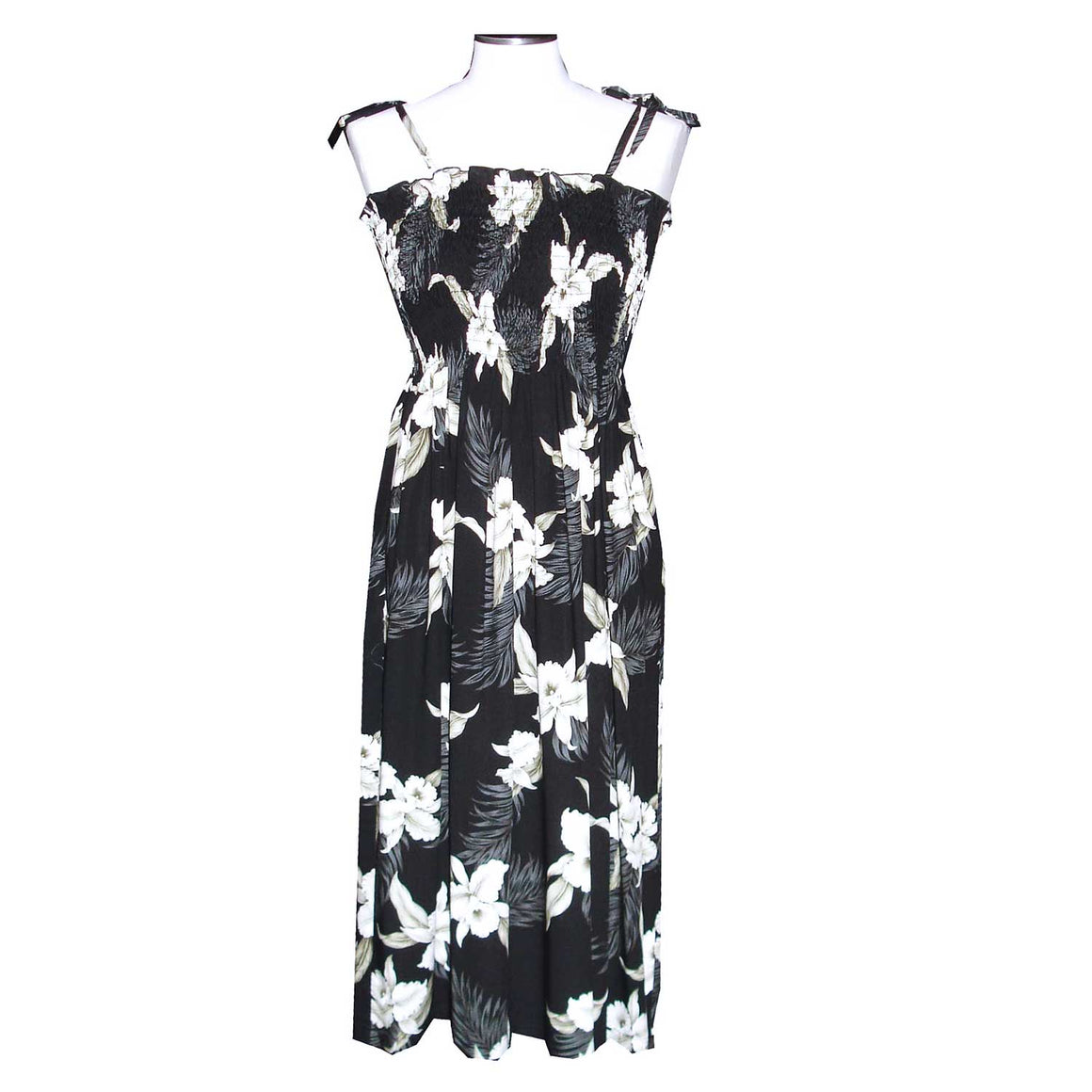 Kahala Orchid Black Mid-Length Tube Dress