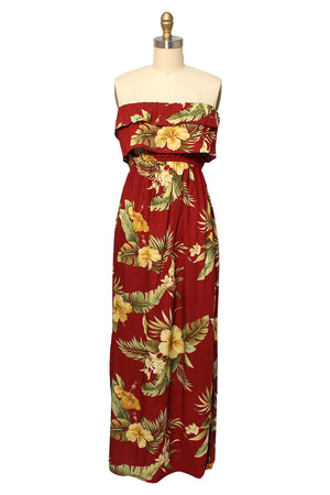 Hana Hibiscus Red Strapless Long Hawaiian Dress