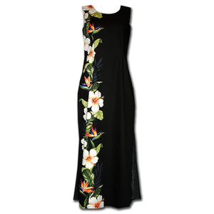 Hibiscus Paradise Black Long Tank Dress