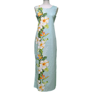 Hibiscus Paradise Green Long Tank Dress