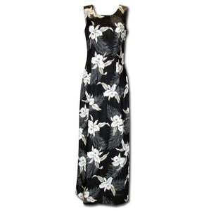 Kahala Orchid Black Long Tank Hawaiian Dress