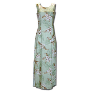 Kahala Orchid Green Long Tank Hawaiian Dress