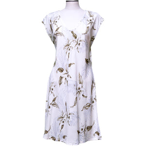 Kahala Orchid White Dress with Cap Sleeves