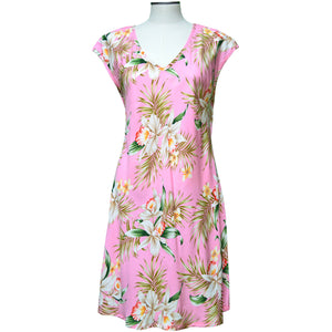 Pacific Orchid Pink Dress with Cap Sleeves
