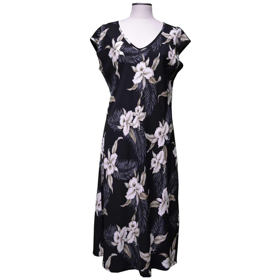 Kahala Orchid Black Mid-Length Dress with Cap Sleeves