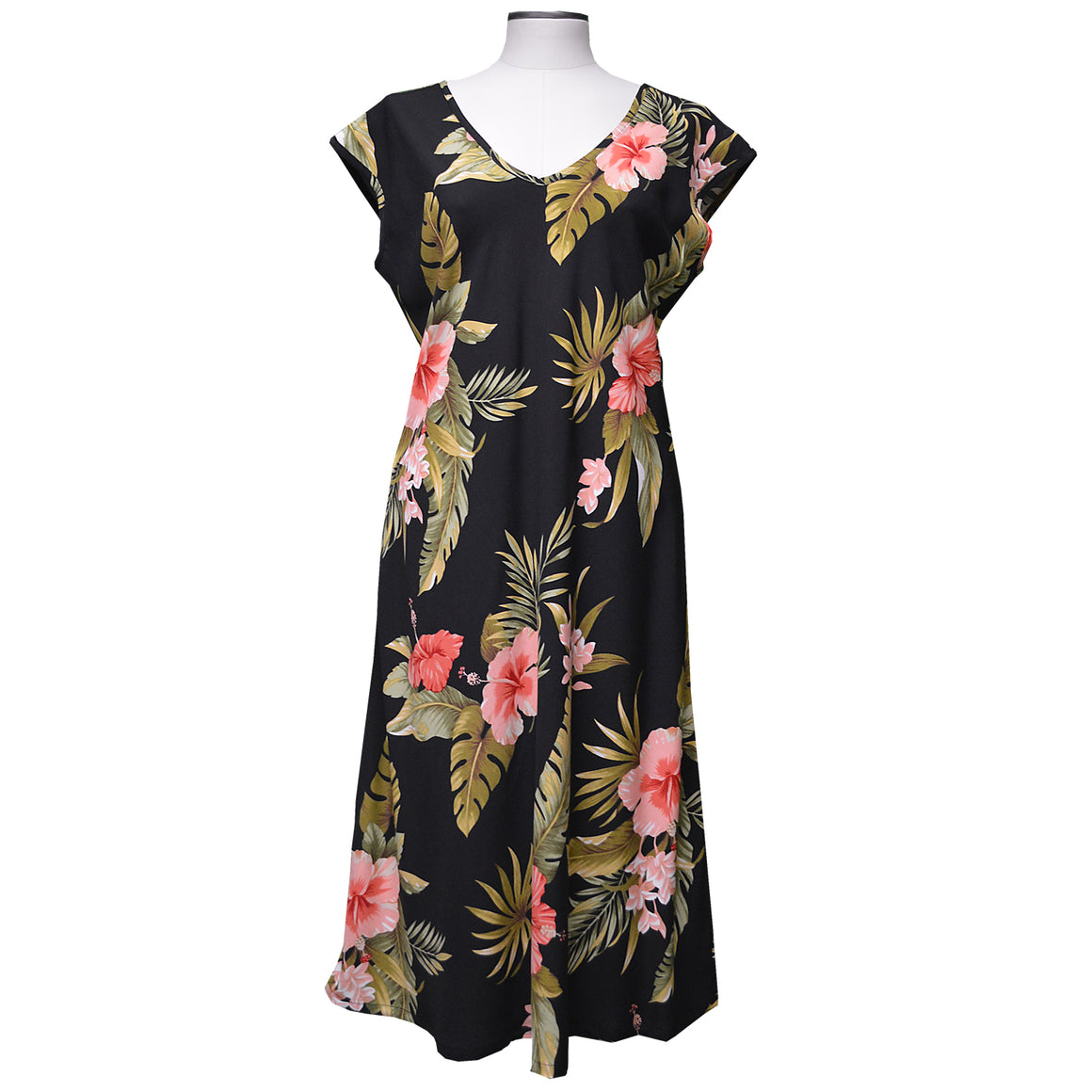 Hana Hibiscus Black Mid-Length Dress with Cap Sleeves