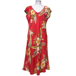 Hana Hibiscus Red Mid-Length Dress with Cap Sleeves