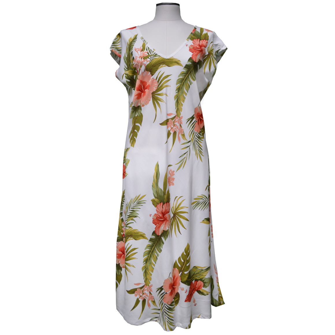 Hana Hibiscus White Mid-Length Dress with Cap Sleeves