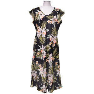 Pacific Orchid Black Mid-Length Dress with Cap Sleeves