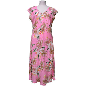Pacific Orchid Pink Mid-Length Dress with Cap Sleeves
