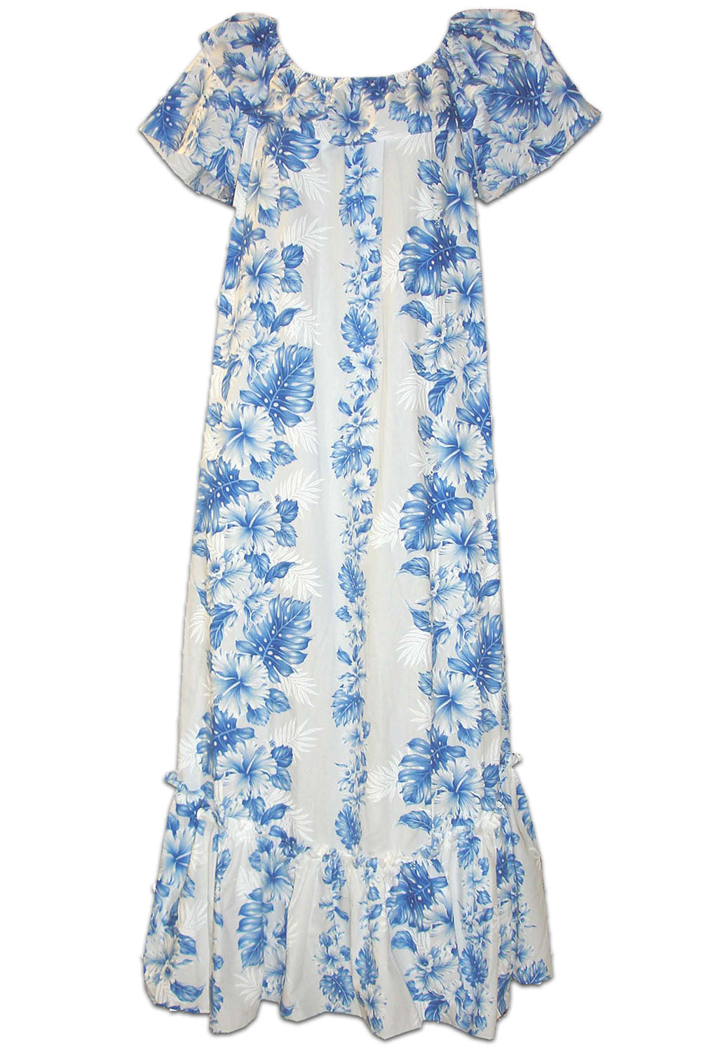 Royal Hibiscus White Short Sleeve Muumuu