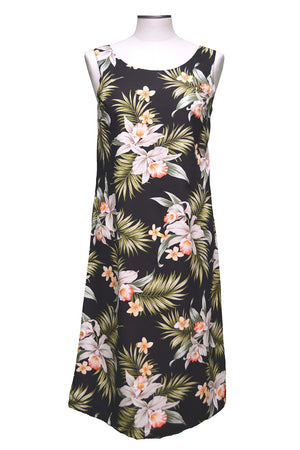 Pacific Orchid Black Mid-length Tank Dress