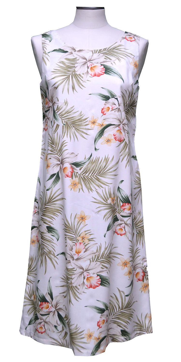 Pacific Orchid White Mid-length Tank Dress