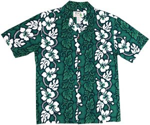 White Hibiscus Panel Green Hawaiian Shirt