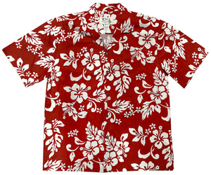 White Hibiscus Red Hawaiian Shirt
