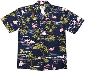 Flamingo Island Navy Hawaiian Shirt