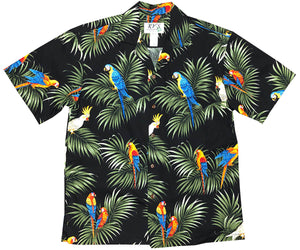 Parrot Alert Black Hawaiian Shirt
