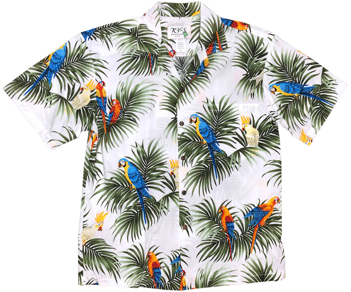 Parrot Alert White Hawaiian Shirt