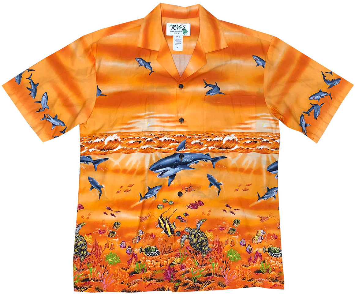 Shark Storm Orange Hawaiian Shirt