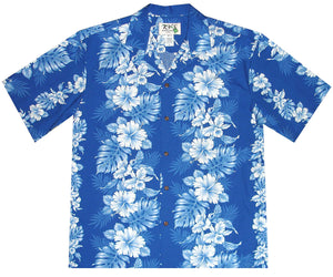 Royal Hibiscus Blue Hawaiian Shirt