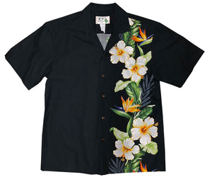 Hibiscus Paradise Black Hawaiian Shirt
