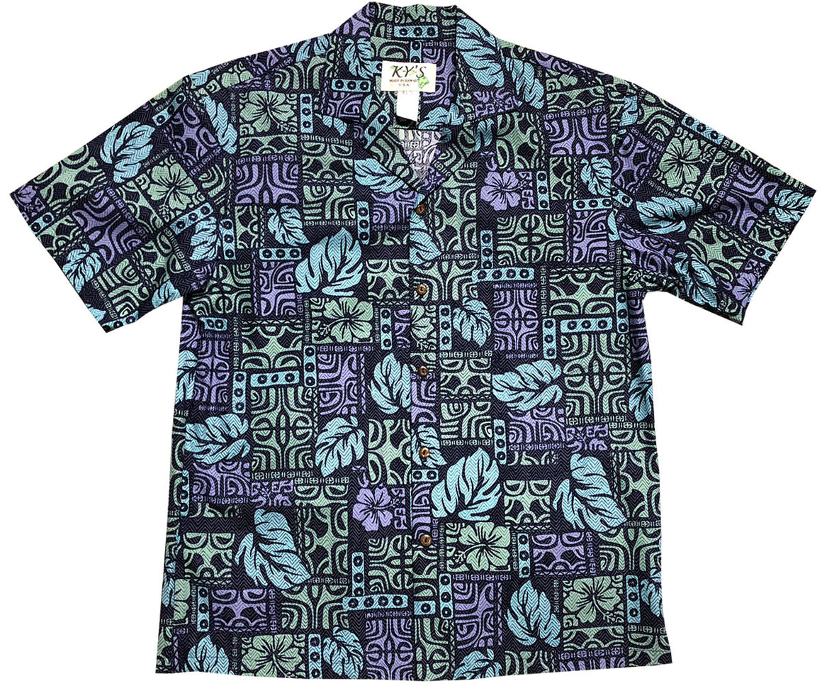 Garden Glyphs Navy Hawaiian Shirt