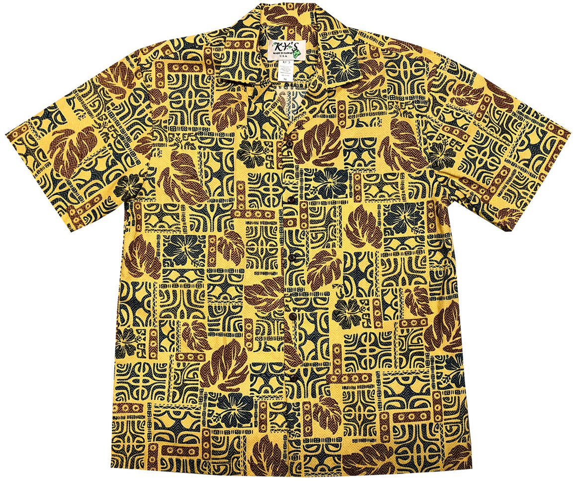 Garden Glyphs Yellow Hawaiian Shirt