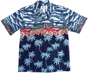 Beach Cars Navy Hawaiian Shirt