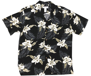Kahala Orchid Black Hawaiian Shirt