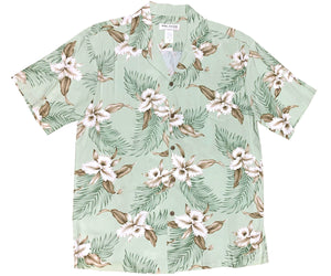 Kahala Orchid Green Hawaiian Shirt